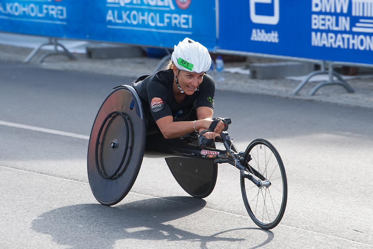 Manuela Schar, the most successful female Swiss wheelchair athlete, crossed the finish line in Berlin last year in a world record time.